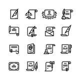 Documents d'autorisation, certificat et passeport, permis avec la ligne simple icônes de cachet illustration libre de droits