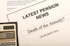 Documents de changement de pension Photo libre de droits