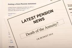 Documents de changement de pension Photos libres de droits