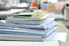 Documents on desk. At business office royalty free stock photo