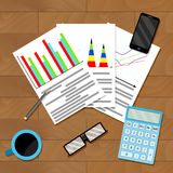 Documents with diagram and graph on table. Document with diagram and graph on table. Research finance annual report. Vector illustration Stock Image