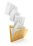 Documents downloading. Downloading dcuments in yellow folder. 3d illustration Stock Photo