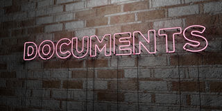 DOCUMENTS - Enseigne au néon rougeoyant sur le mur de maçonnerie - 3D a rendu l'illustration courante gratuite de redevance Images libres de droits