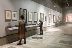Documents in the exhibition in Pushkin Museum royalty free stock photography