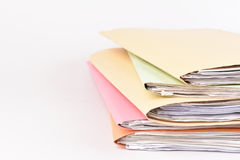 Documents. A file folder with documents and important document on background stock photo
