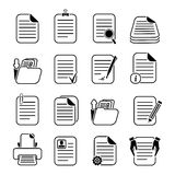 Documents Files and Folders Icons Set Stock Image