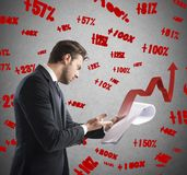 Documents of financial profit Stock Photos