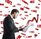 Documents of financial profit Stock Images