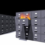 Documents on fire (3D) Royalty Free Stock Photos