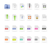 Documents and Folder Icon Set Stock Photography