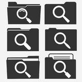 Documents folder icon set with magnifying glass. Paper sheets. Search symbol. Business office document concept. Vector Stock Photography