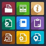 Documents and folders flat icons set 20. Documents and folders icons set for Web and Mobile Applications Royalty Free Stock Photos