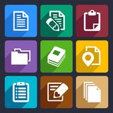 Documents and folders flat icons set 19. Documents and folders icons set for Web and Mobile Applications royalty free illustration