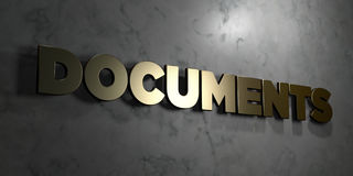 Documents - Gold sign mounted on glossy marble wall  - 3D rendered royalty free stock illustration Royalty Free Stock Photos