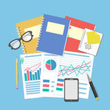 The documents and graphics on the desktop. Concept for business planning and accounting, analysis, Financial Audit, SEO analytics, Stock Images