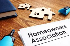 Documents about Homeowners Association HOA. On a desk royalty free stock photos