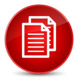 Documents icon elegant red round button Royalty Free Stock Image