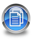 Documents icon glossy blue round button Stock Photos