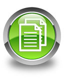 Documents icon glossy green round button Royalty Free Stock Photo