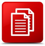 Documents icon red square button Royalty Free Stock Photography