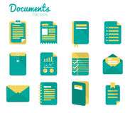 Documents icon set. Stock Photos