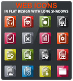 Documents icon set. Documents icons set in flat design with long shadow Royalty Free Stock Image