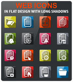 Documents icon set. Documents icons set in flat design with long shadow Royalty Free Stock Photo