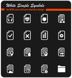 Documents icon set. Documents  icons for user interface design Royalty Free Stock Photos