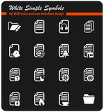 Documents icon set. Documents  icons for user interface design Royalty Free Stock Image