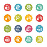 Documents Icons - 1 -- Fresh Colors Series. Vector Icons and buttons in different layers, easy to change colors Stock Photography