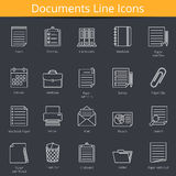 Documents Icons. 20 paper and documents line icons set Royalty Free Stock Image