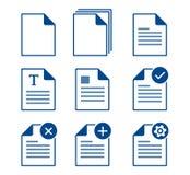 Documents icons. Set of blue documents icons Stock Photo