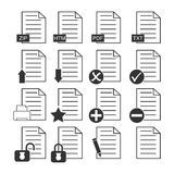 Documents icons. Vector of documents icons on white background Stock Image
