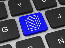 Documents key on keyboard of laptop computer. Royalty Free Stock Images
