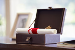 Documents And Letters In Keepsake Box On Desk Royalty Free Stock Photo