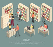 Documents Library Archive Interior Isometric Illustration vector illustration