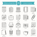 Documents Line Icons. 20 paper and documents line icons set Royalty Free Stock Photo