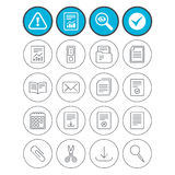 Documents linear icons. Accounting, book. Report, check tick and attention signs. Documents linear icons. Accounting, book and calendar symbols. Paper clip Stock Photo
