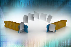 Documents moving one folder to another. In color background Royalty Free Stock Images