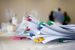 Documents with paper clips. Many documents with paper clips royalty free stock photography