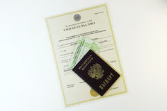 Documents: passport of the citizen of the Russian Federation and Stock Images