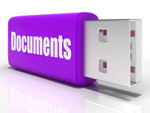 Documents Pen drive Shows Digital Information Royalty Free Stock Image