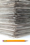 Documents piled. Up on a white fund Stock Image