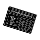 Documents of a private detective. Card that shows the personality of the detective.Detective single icon in blake style Royalty Free Stock Images