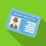 Documents of a private detective. Card that shows the personality of the detective.Detective single icon in flat style Royalty Free Stock Photos