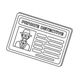 Documents of a private detective. Card that shows the personality of the detective.Detective single icon in outline Stock Images