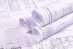 Documents for the project engineering work royalty free stock photos