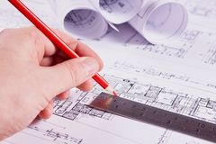 Documents for the project engineering work stock image