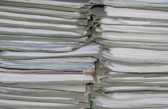 Documents. Stack of office papers in a pubblic archive Stock Image