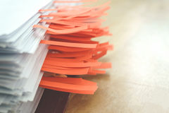 Documents with sticky bookmarks Stock Image